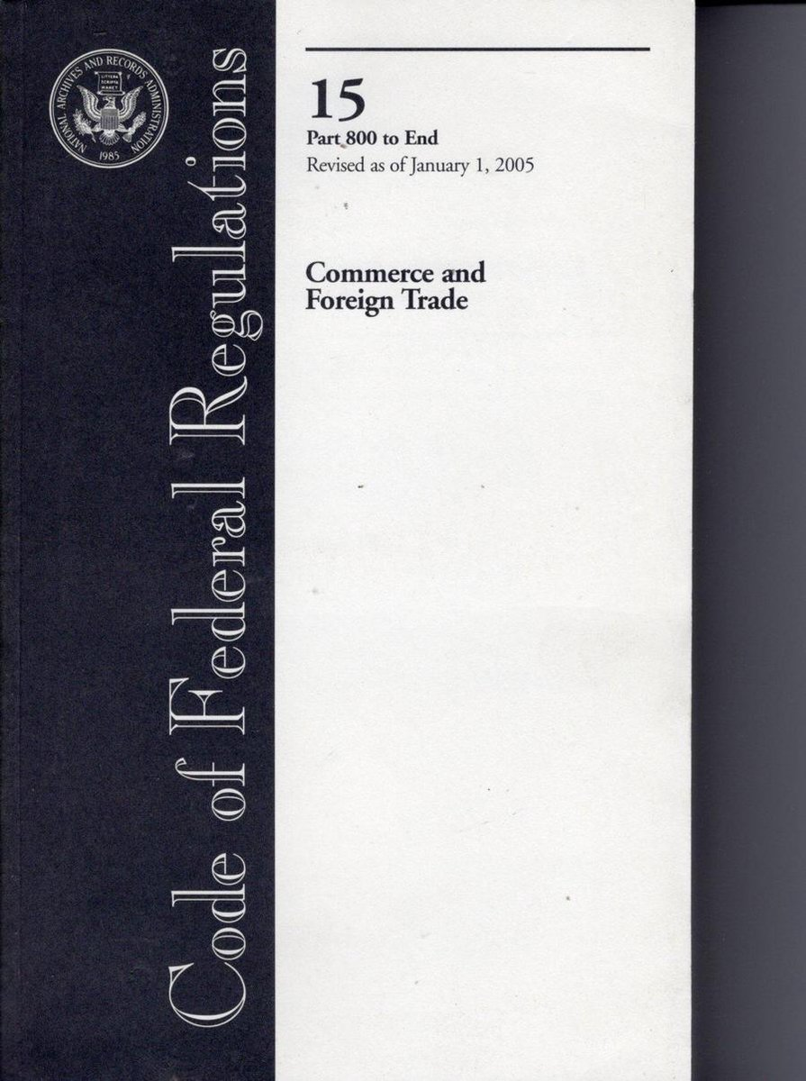 Code Of Federal Regulations, Title 15